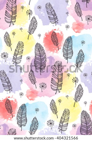 print, seamless pattern with feather, watercolor spots on a white background. Vector illustration - stock vector