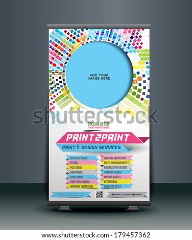 Print Shop Roll Up Banner Design - stock vector