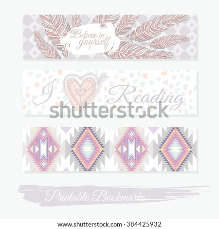 Printable bookmarks with feathers, aztec pattern and heart. Vector templates for  bookmark, bookmark, bookmark, bookmark, bookmark, bookmark, bookmark, bookmark, bookmark, bookmark, bookmark, bookmark