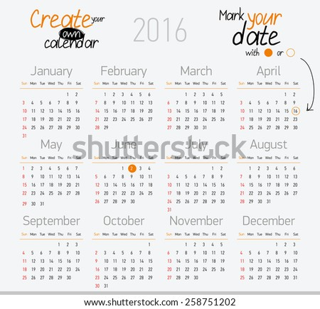 Printable calendar 2016. Easy to edit. - stock vector