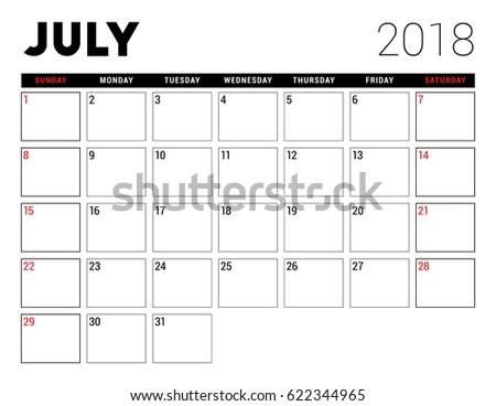 printable calendar july 2018 planner design stock vector 622344965 shutterstock. Black Bedroom Furniture Sets. Home Design Ideas