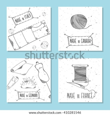 Printable cards for sites in the retro style. Sewing device, equipment for manufacturing, clothing and textiles. Made in Italy, Canada, France, Germany. Fashion Europe, America. Vector illustration - stock vector