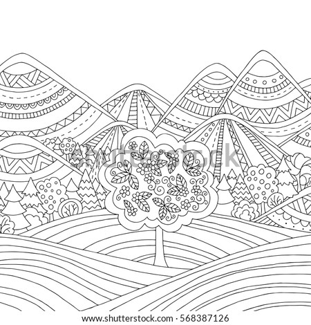 printable coloring page for adults with mountain landscape forest trees clouds hand - Mountain Landscape Coloring Pages