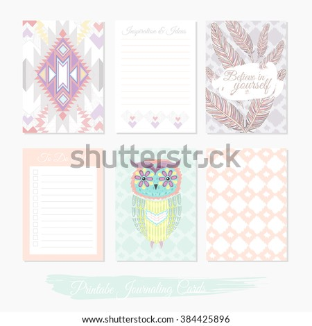 Printable cute set of filler cards with aztec pattern, owl and feathers. Vector templates for posters, flyers, banner designs, journal cards, scrapbook, planner, diary journaling. - stock vector