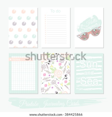 Printable cute set of filler cards with flowers, sunglasses and summer elements. Vector templates for posters, flyers, banner designs, journal cards, scrapbook, planner, diary journaling. - stock vector