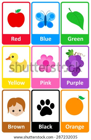 stock vector printable flash card collection for colors and their names with colorful pictures for preschool 287232035 - Colors For Kindergarten