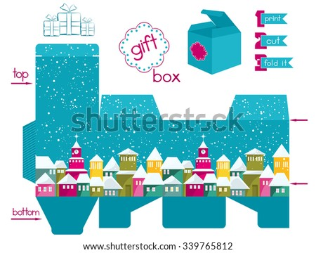 Printable gift box with colorful snow-covered town. Template for gift box with lid. Christmas theme favor box. Easy for installation - print, cut, fold it. Infographic elements. Vector file is EPS8. - stock vector