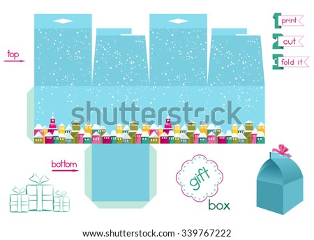 Printable gift box with colorful town under snowfall. Template for cubic gift box with lid. Christmas theme favor box with holes for ribbon. Decorative and infographic elements. Vector file is EPS8. - stock vector