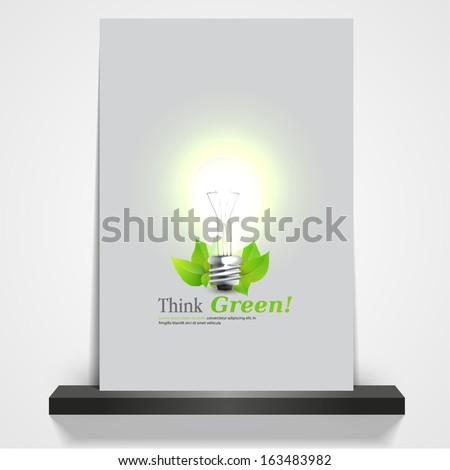 printable green eco magazine or flyer cover, 3d Light Bulb illustration  - stock vector