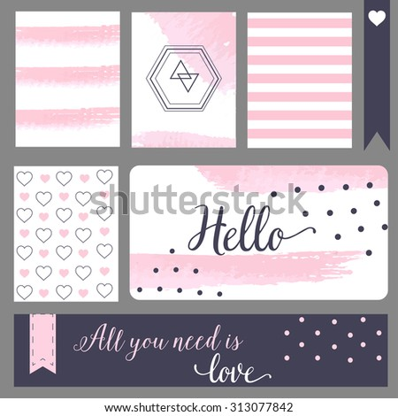 Printable journal cards. For notebook, notepad, web cite. Calligraphy style and polka dot, blue and pink - stock vector
