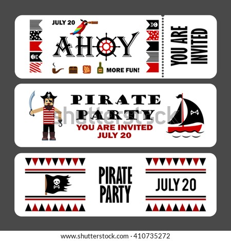 Printable set vintage pirate party invitations stock vector hd printable set of vintage pirate party invitations pirate cards templates labels icons stopboris Image collections