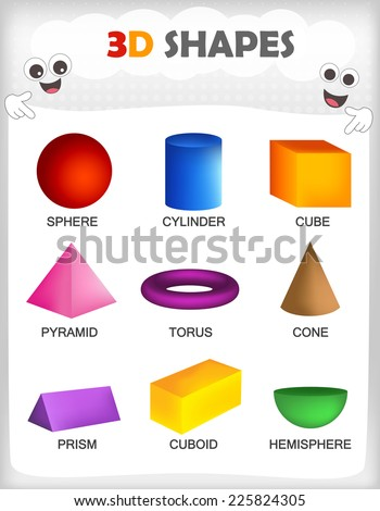Printable sheet collection colorful 3d shapes stock vector printable sheet of a collection of colorful 3d shapes with their correct name for kindergarten ccuart Image collections