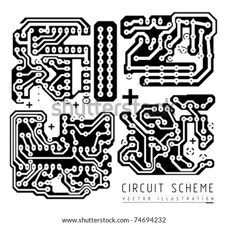 printed circuit board vector illustration isolated on white background - stock vector