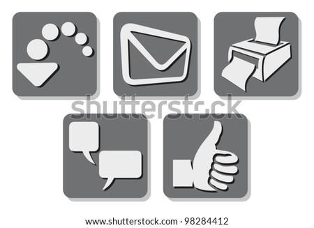 printer icon (print button), e-mail icon (mail button, send icon), thumb up icon (like button), download icon (download button), comment icon (comment button) - stock vector