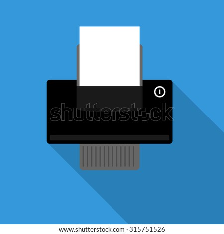 Printer icon with paper in paper tray on blue background - stock vector