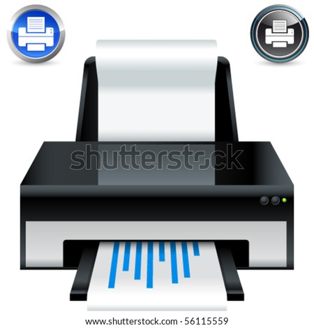 printer icons - vector illustration