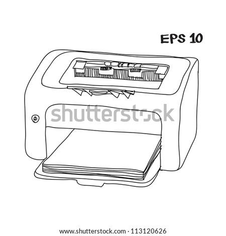 printer laser sketch vector illustration - stock vector