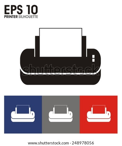printer silhouette icon - stock vector