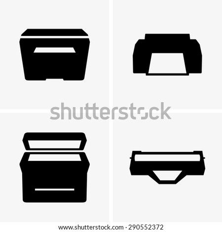 Printers and cartridge - stock vector