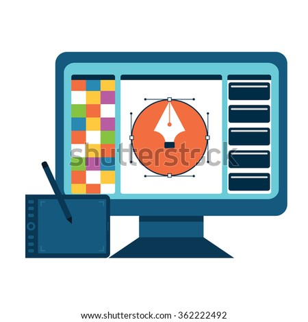 Printing and graphic design concept. - stock vector