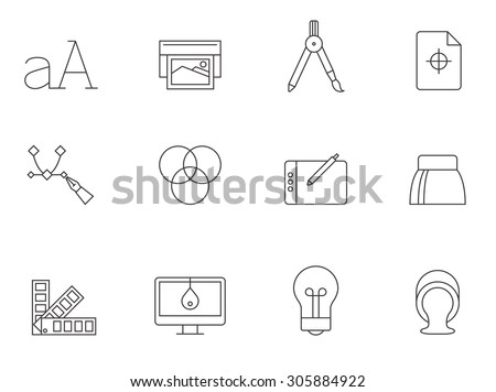 Printing and graphic design icons in thin outlines. - stock vector