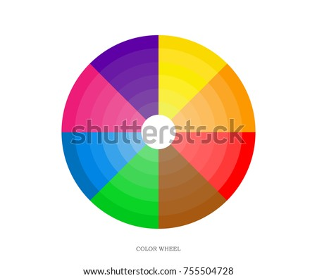 Printing Color Wheel 8 Sectors From Yellow To Violet Different Tones