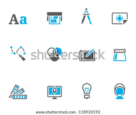 Printing & graphic design icon series in duo tone color style - stock vector