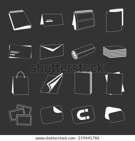 Printing house web monochrome white icons with products include business card, postcard and calendar isolated on black background