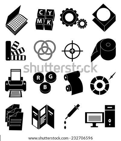 Printing press icons set - stock vector