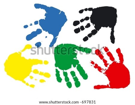 Prints of hands of the child, 2,5 years (vector illustration) - stock vector