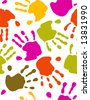 Prints of hands - seamless  pattern - stock vector