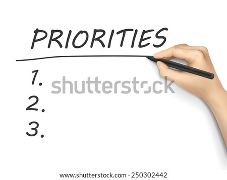 priorities word written by hand on a white board - stock vector