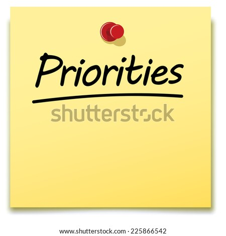 priorities, yellow paper note pinned to a notice board - stock vector