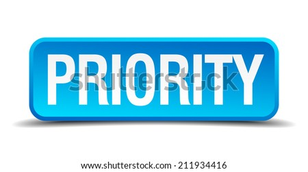 Priority blue 3d realistic square isolated button - stock vector
