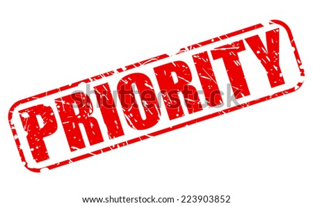 Priority red stamp text on white - stock vector