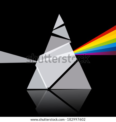Prism Spectrum Illustration on Black Background - stock vector