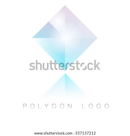 Prism square polygon logo in modern geometric style with reflection. Colorful premium logo isolated on white. - stock vector