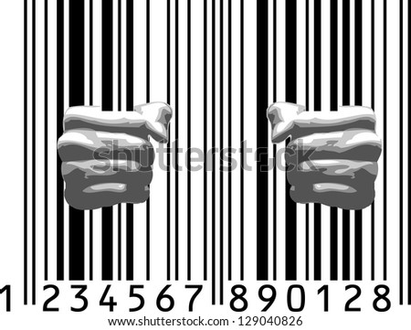 Prison Complex - hands on bars - stock vector