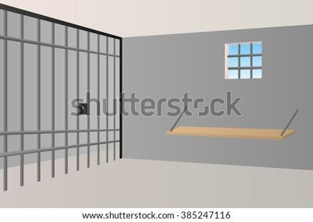 Prison jail room interior window grille illustration vector - stock vector