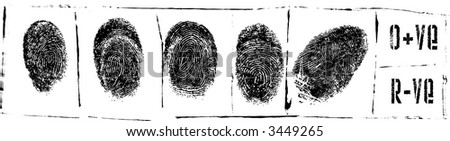 Prison Sheet with Fingerprints and blood test - stock vector