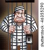Prisoner behind bars - stock vector