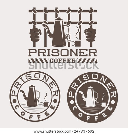 prisoner coffee concept vector design template - stock vector