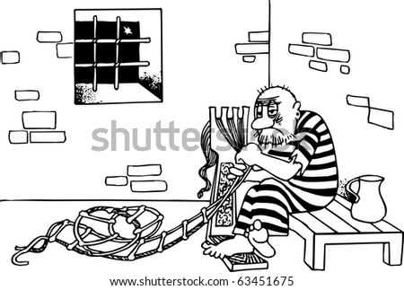 Prisoner escape from jail with homemade ladder - stock vector