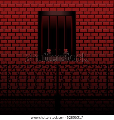Prisoner grips the bars of his prison cell - stock vector