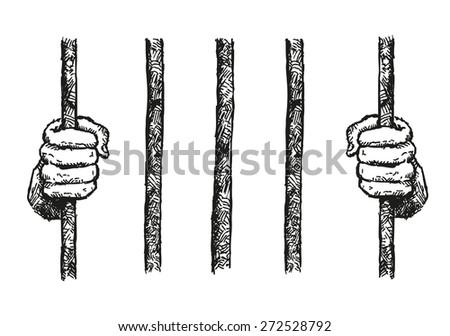 Prisoner Hands on a Bar Hand Drawn Illustration Vector - stock vector