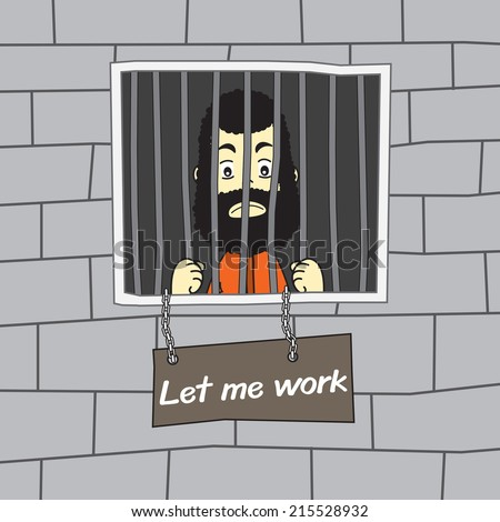 Prisoner In Jail Vector Illustration - stock vector