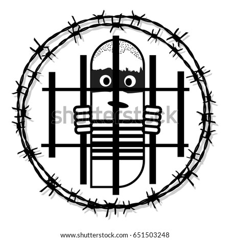 prisoner logo circle barbed wire tattoo stock vector