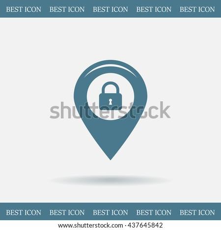 privacy lock icon, icon map pin. - stock vector