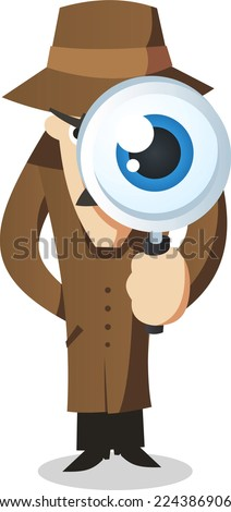 Private eye with magnifying glass. - stock vector