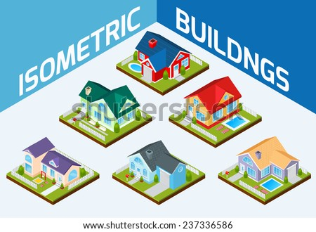 Private house real estate decorative icons set 3d isometric isolated vector illustration - stock vector